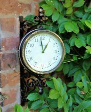 Reloj De Pared De Estación De Jardín & Temperatura Con Soporte, eslabones giratorios al aire libre 20cm Hogar