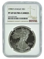 1990 S 1oz Silver Eagle Proof NGC PF69 Ultra Cameo - Brown Label