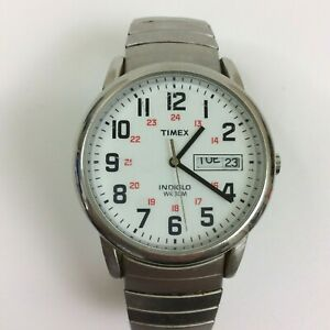 Vintage Timex Watch Men Silver Tone White Dial Date Time Stretch Band