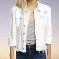 Blank NYC White Distressed Asymmetrical Ripped Jean Denim Jacket Size LARGE