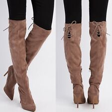 Women's Brand New Taupe Over The Knee Thigh High Suede Stiletto Boot Size 11