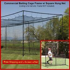 12' x 14' x 35' #42 (#60ply) Baseball Softball Batting Cage Nets Free L-Screen