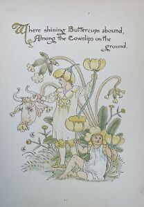 ANTIQUE Walter CRANE Artist Bookplate #11 'Floras Feast' BUTTERCUPS c1890 London