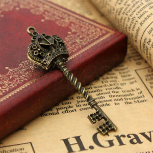 Antique Vintage Old Look Skeleton Key Lot Crown Bow Steampunk Charm Accessory