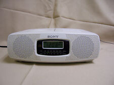 Sony ICF-CD820 AM/FM CD player CD-R Alarm Clock Radio Dual Alarm WHITE