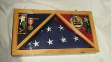 New listing U.S. Navy Flag And Medal Display Shadow Box Case *Includes Flag, Medal, Patches