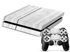 Sony PS4 PlayStation 4 Skin Design Sticker Screen Protector Set - White Wood