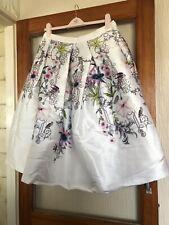 Ted Baker New Ivory Passion Flower & Birds Full Pleated Skirt 4/14