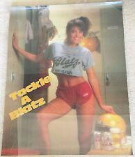 BLATZ BEER / VINTAGE 80'S TACKLE A BLATZ SEXY GIRL & FOOTBALL PROMO POSTER