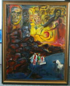 Tomb of Prophets Haggai, Zechariah and Malachi. Mystic oil painting on canvas.