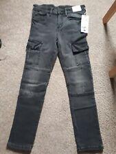 Boys Skinny Jeans, Grey/Black, Age 9-10
