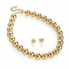 Gold Colour Ball Design Bead Necklace & Earring Set