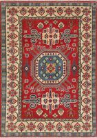 Medallion Hand-Knotted Super Kazak Area Rug Wool Oriental Geometric Carpet 4x6