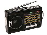 QFX R-39 R-39e Rechargeable AM/FM/SW1-SW9 10-Band Portable Radio+Flash Light+USB
