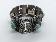 """7"""" LARGE Sterling Silver Square Link Bracelet Oval Turquoise Stones MEXICO"""