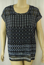 Autograph Navy White Mosaic Short Sleeve Tunic Top Plus Size 14 26 BNWT #Z44