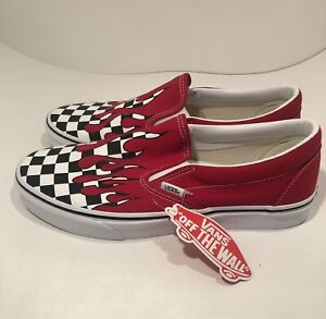 Vans Men's Classic Slip-On Checkerboard Flame Shoes Red Size 10 NEW