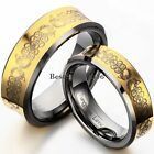 Gold Tone Concave Celtic Comfort Fit Tungsten Carbide Couples Wedding Band