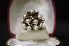 RARE Vintage MIKIMOTO 14K Yellow Gold PEARL & RUBY Cluster Cocktail Ring, Size 6