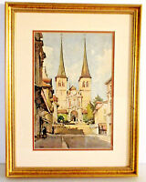 "Lithograph ""Luzern Hofkirche"" by Nicholas Markovitch /1930-40/ Switzerland"