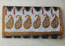 Anthropologie Paisley Beaded Clutch Multicolor Motif Magnetic Flap Hand Bag