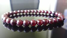 "Genuine GARNET bead bracelet for MEN or WOMEN Stretch AAA Quality 6mm - 7.5"""