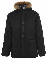 AIRWALK Parka Jacket Mens Hooded Jacket Black Coat UK Small S *Ref163
