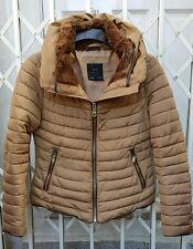 Zara cuello de piel Anorak Chaqueta Abrigo Talla M 10 magnífico Camel Color Excelente