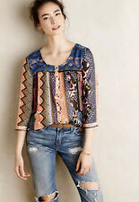 Anthropologie Vanessa Virginia Top Embroidered Patch Swing Blouse Size 8 Boho