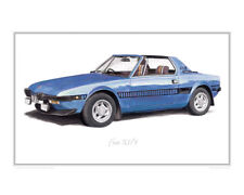 Fiat X1/9 (blue) - Limited Edition Classic Sports Car Print Poster by Steve Dunn