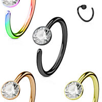 1pc Bendable Steel Gem Nose Hoop / Cartilage Ring Rook Daith Helix Tragus
