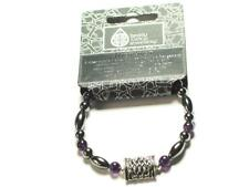 Amethyst Gemstone and Handmade Celtic pewter Pillow Bead bracelet, Psychic Gifts