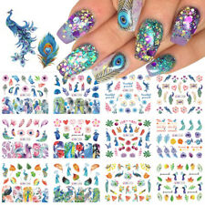 12 Designs Nail Sticker Slider Colorful Peacock Leaf Flower Water Decal Wraps