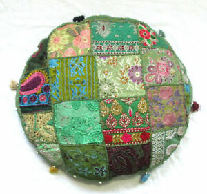 """Indian Cotton Handmade 22"""" Round Cushion Cover Floor Decorative Patchwork Throw"""