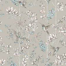 Metallic Background Floral Blooms & Hummingbirds Colorful Wallpaper - 10m Roll