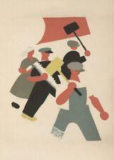 Travailleurs, 1923, Vladimir Lebedev vintage propagande russe Poster