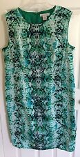 Liz Claiborne Lined Teal Animal Print Stretching Cotton Dress  Size 18
