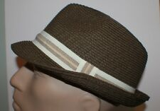 Vintage  Free  Authority  Brown Straw  Fedora  Men's Hat  L/XL Hipster Chic