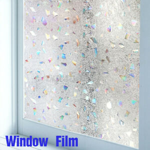 Frosted Static Cling Stained Glass Window Film Sticker Privacy Office Home Decor