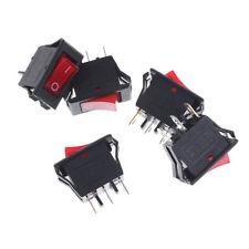 5PCS Red AC15A/250V 20A/125V ON-OFF 2 Position SPST Boat Rocker Switch 3 pins