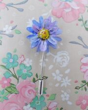 FORGET-ME-NOT BLUE DAISY PIN Blue Wedding Flower Friendship Brooch HAND PAINTED