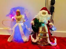 Christmas Tree Topper Clear Prelit Lighted Silver Angel orLED Fiber Optic Santa