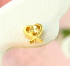 22K THAI BAHT DP YELLOW GOLD ~  FILIGREED CROSS HEART POST STUD EARRINGS