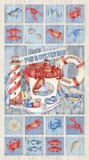 Seafood Shack Panel by Northcott Fabrics-Crabs-Lobster-Fish-Lighthouse