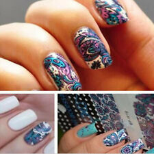 Nail Art Sticker Water Transfer Stickers Blue Flower Decals Tips 3d Decorations