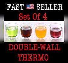 Double Wall Thermo Espresso Shot Glass cup - Set Of 4 - 2.5Oz by BoroNova