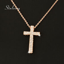 Double Rows Genuine Crystal Cross Pendant Necklace For Women 18K Rose Gold Xl293