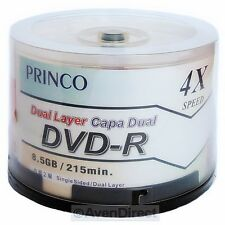 45 Princo 4X Silver Shiny DVD-R DL Double Dual Layer [FREE USPS Priority Mail]