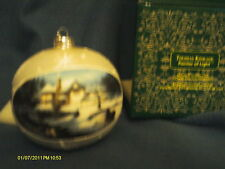 "Thomas Kinkade 'Moonlight Sleigh Ride' ornament  4 1/2"" dia  mint in box"