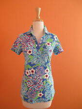 New Lilly Pulitzer Womens Size XS Blue May Flowers Trophy Polo Golf Shirt